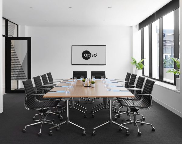 Boardroom at The Johnson serviced offices Brisbane